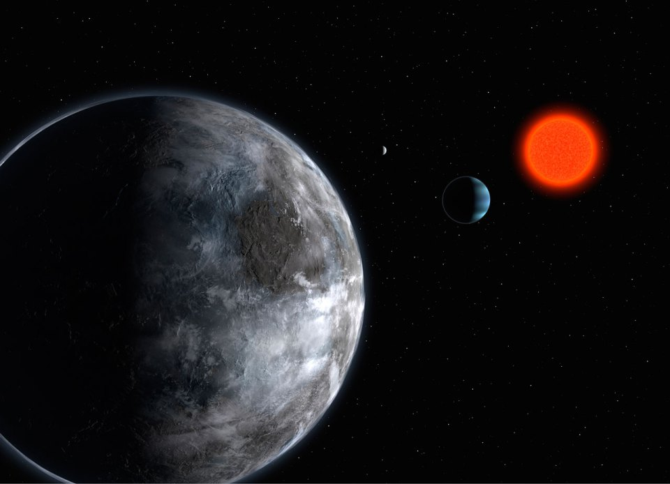 Artist rendition of the red dwarf Gliese 581 and its planetary system. This system, discovered with HARPS, has at least three planets. This star is one of the rare red dwarfs that are bright enough to be observed with HARPS. NIRPS will allow to study a much greater number of red dwarfs. Credits: ESO